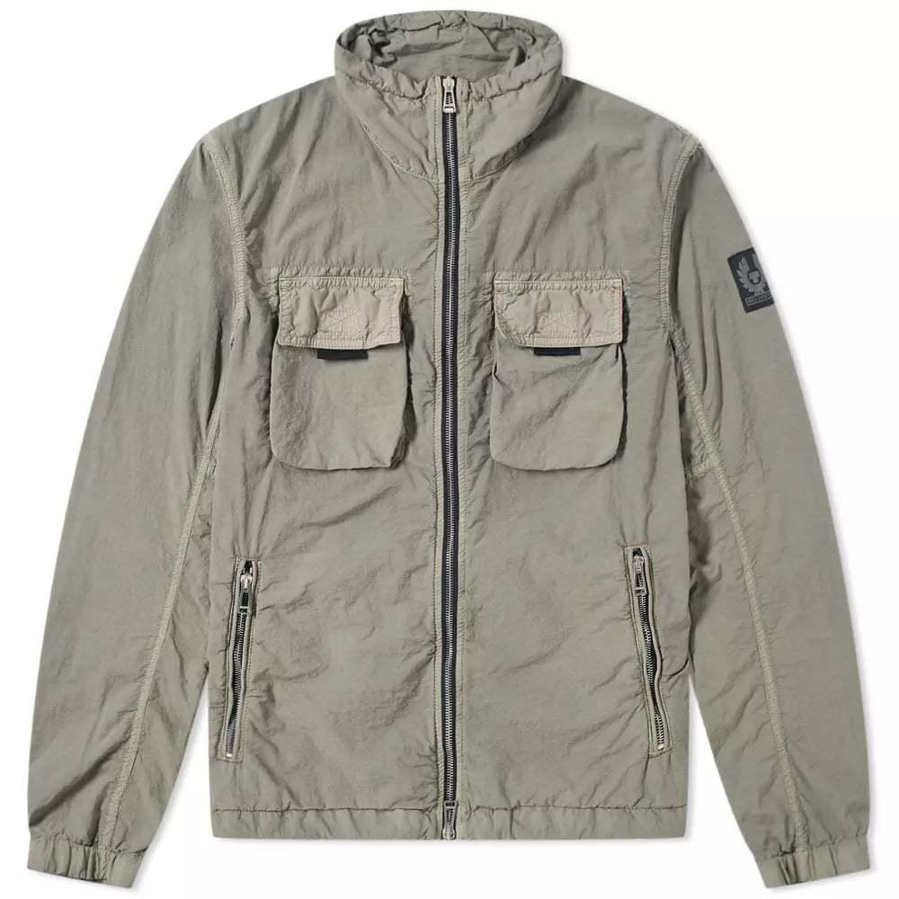 Belstaff Pandeen Garment Dyed Zip Blouson Green