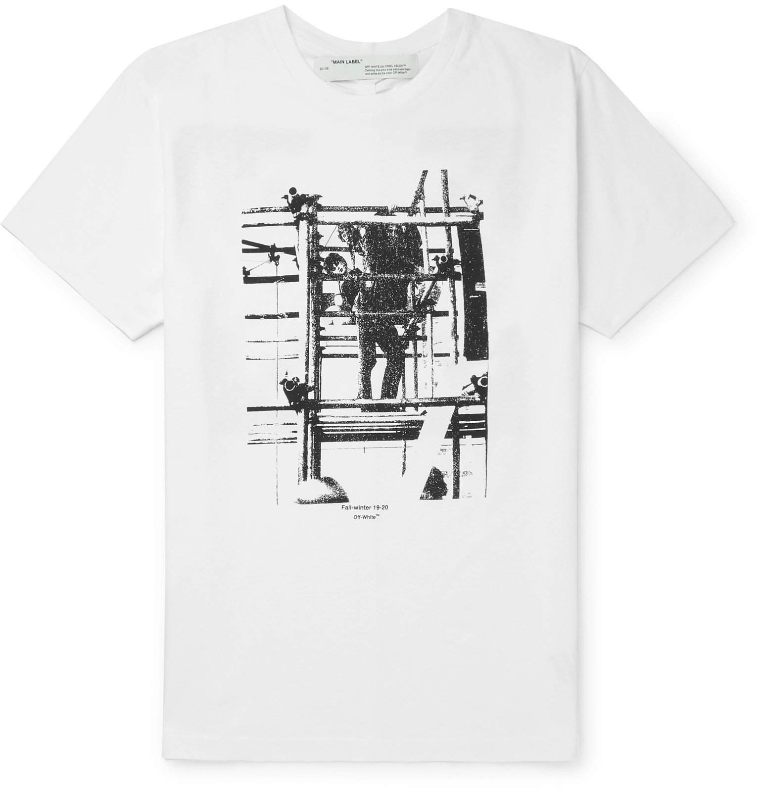 Photo: Off-White - Slim-Fit Printed Cotton-Jersey T-Shirt - White
