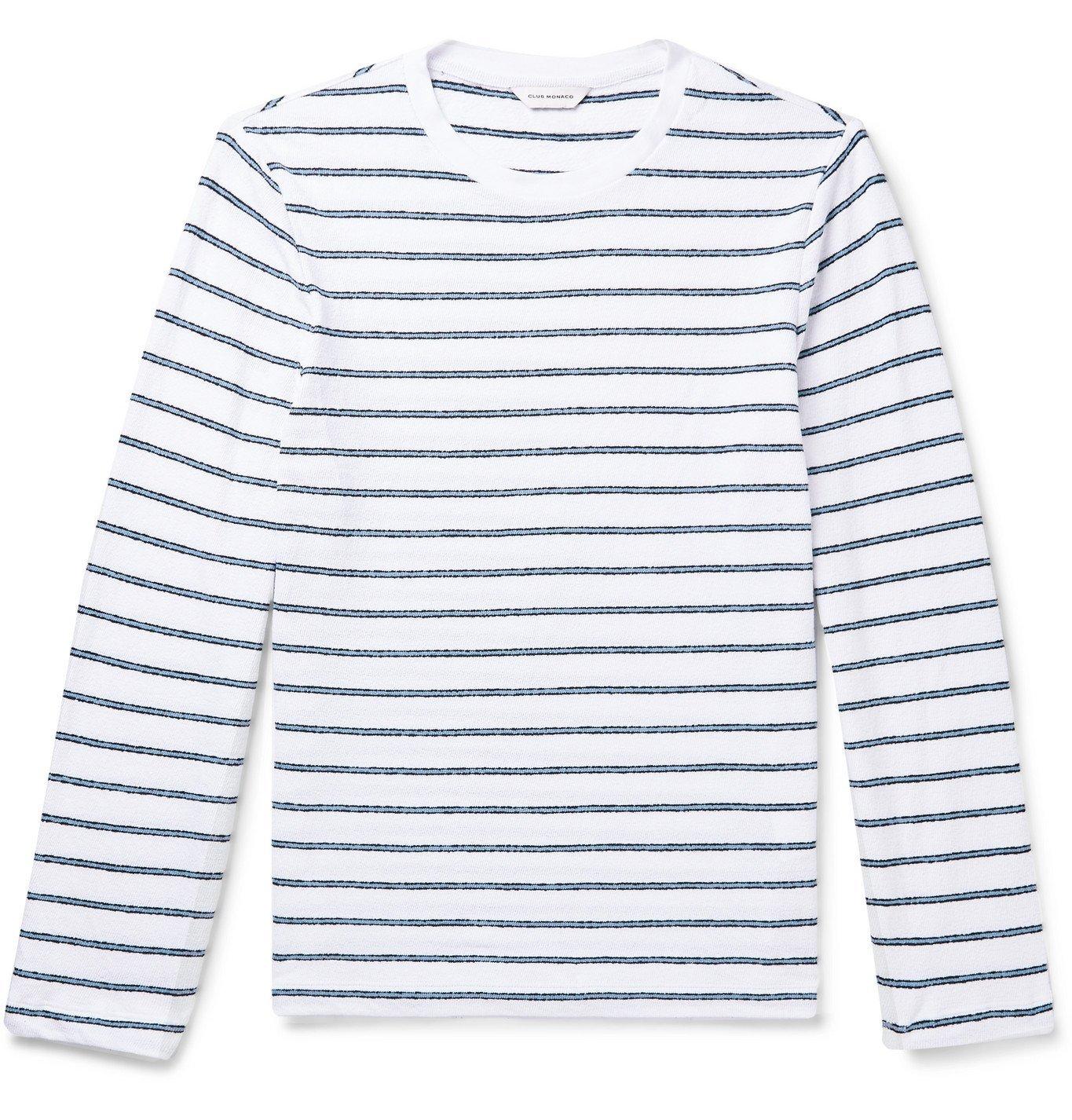 Photo: Club Monaco - Striped Cotton-Terry T-Shirt - White