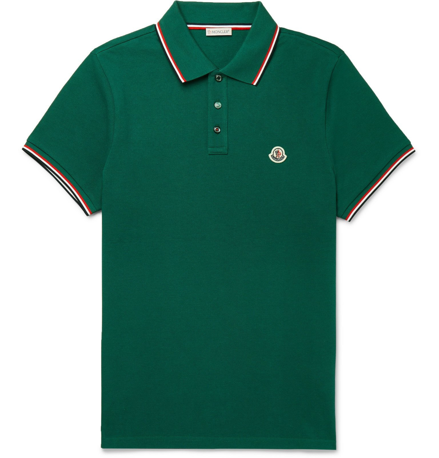 Photo: Moncler - Logo-Appliquéd Striped Cotton-Piqué Polo Shirt - Green