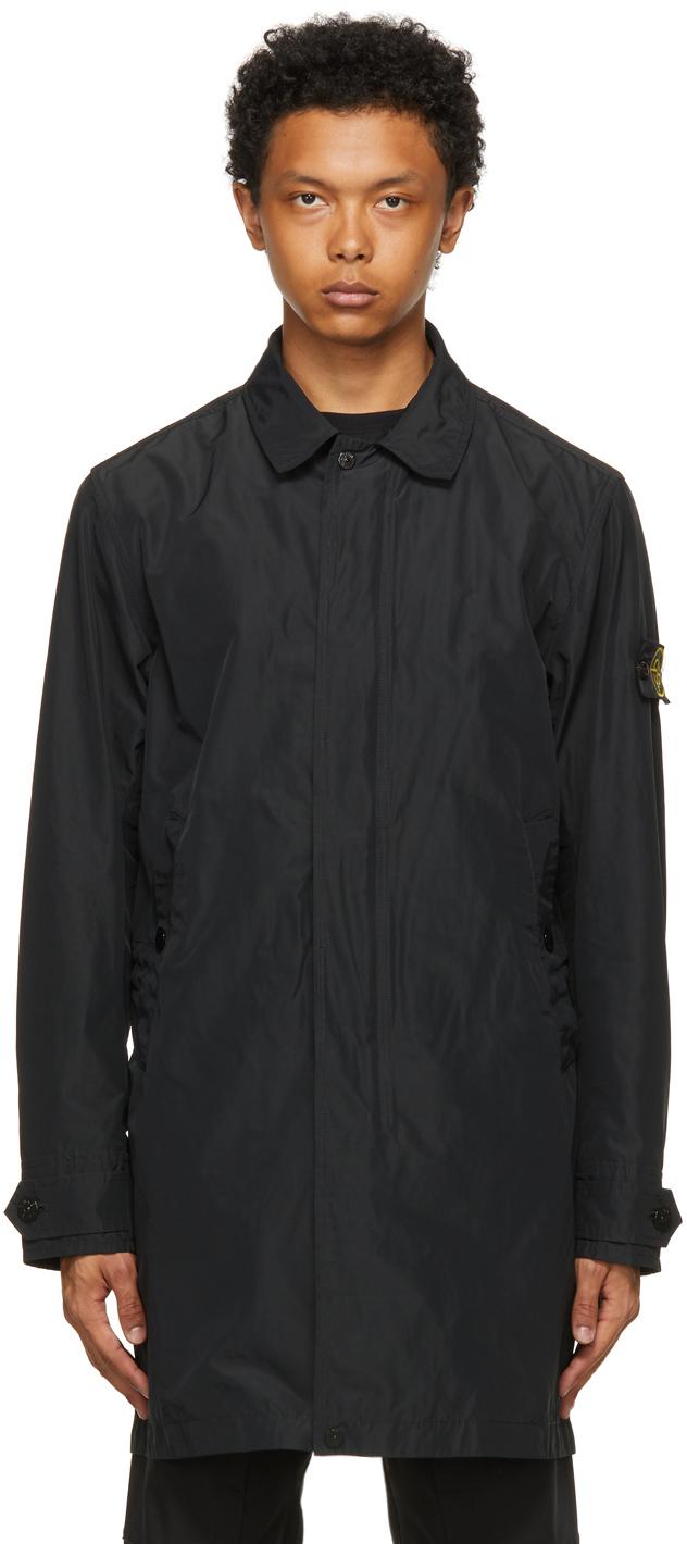Stone Island Black Micro Reps Trench Coat
