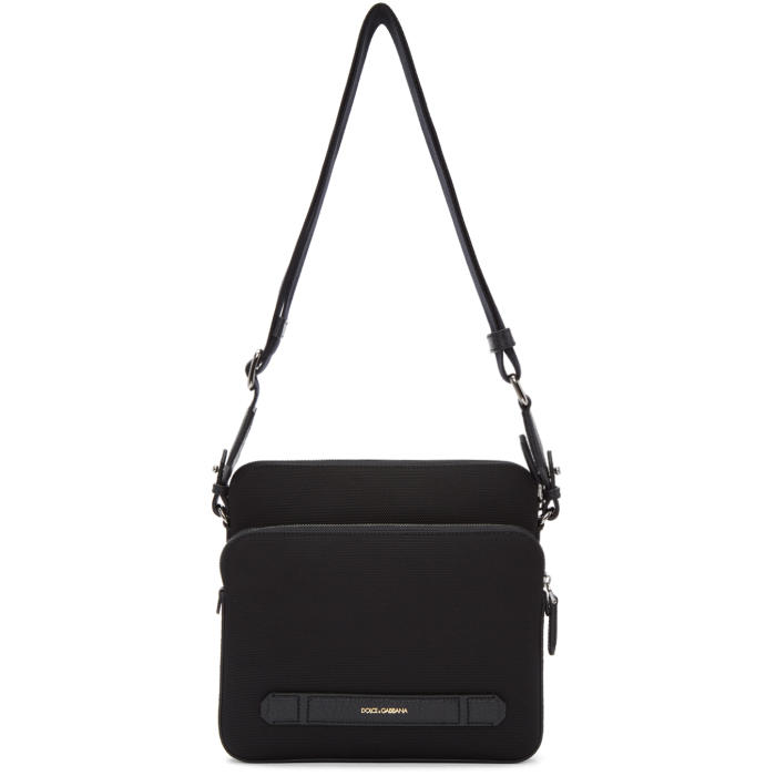 Photo: Dolce and Gabbana Black Canvas and Leather Messenger Bag