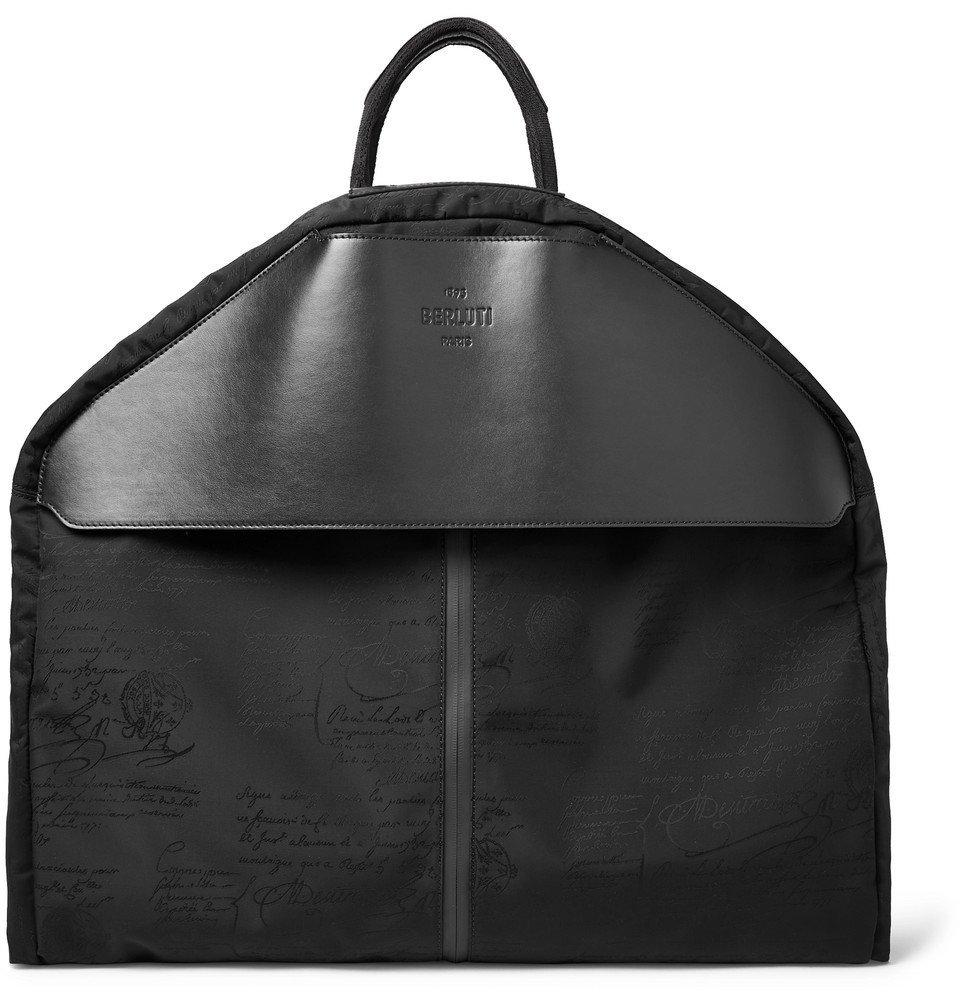 Photo: Berluti - B-Way Scritto Leather-Trimmed Nylon Garment Bag - Black