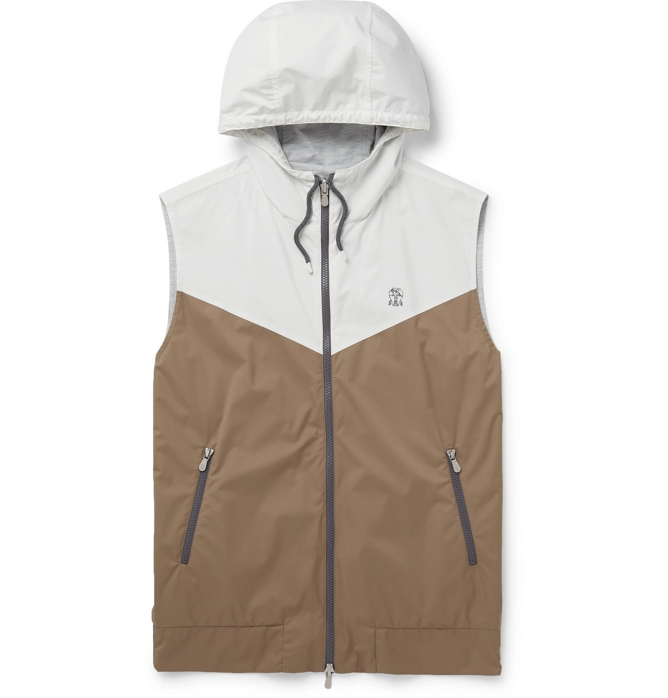 Photo: Brunello Cucinelli - Reversible Colour-Block Shell Hooded Gilet - Neutrals