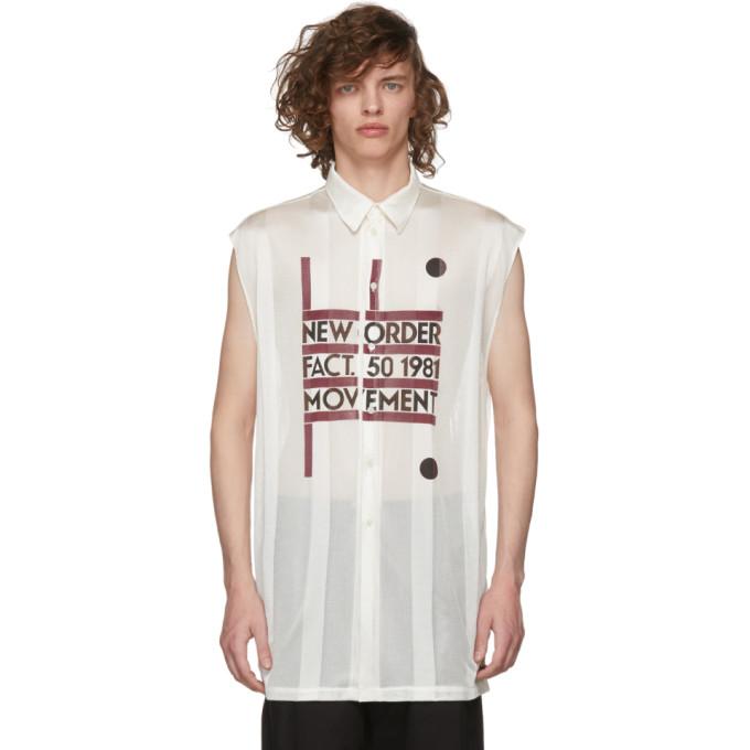 Raf Simons Beige Sleeveless New Order Power, Corruption and Lies Movement Shirt