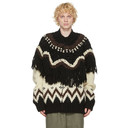 Sacai Beige and Black Nordic Knit Zip-Up Sweater
