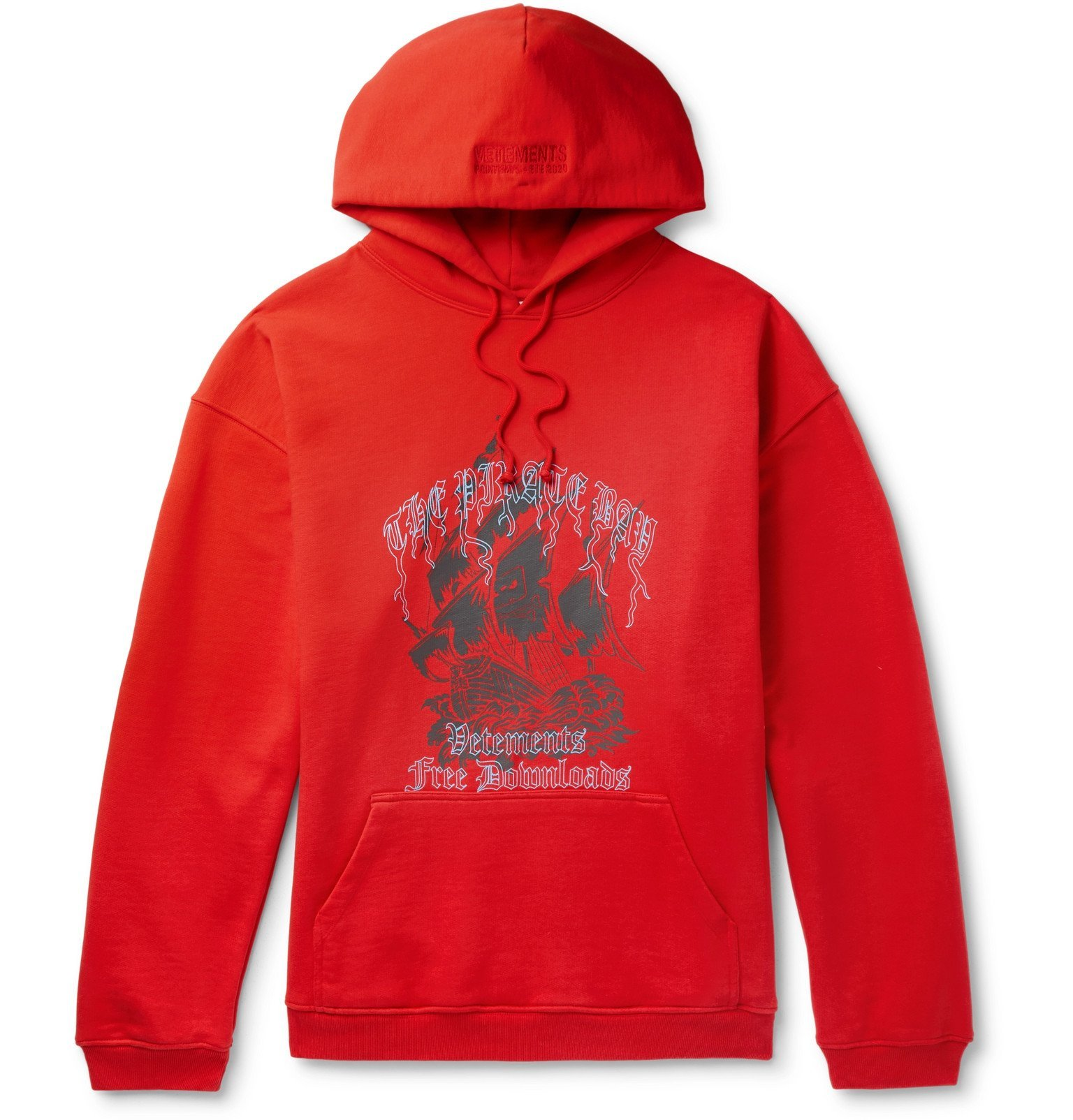 Photo: Vetements - Oversized Printed Loopback Cotton-Blend Jersey Hoodie - Red