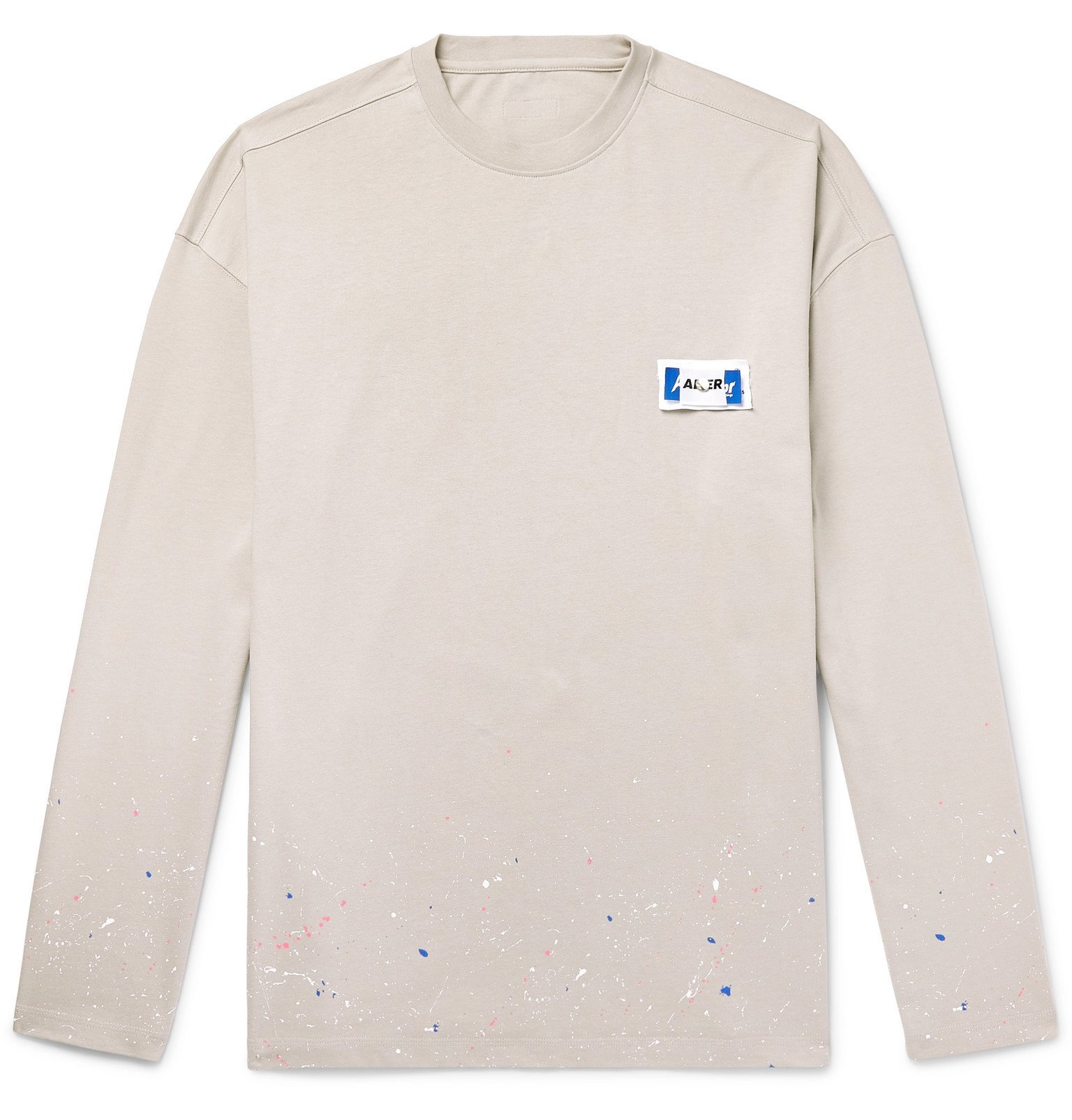 Photo: Ader Error - Oversized Logo-Appliquéd Paint-Splattered Cotton-Jersey T-Shirt - Gray
