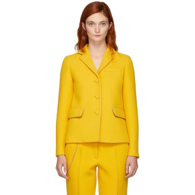 Photo: Bottega Veneta Yellow Embroidered Chain-Link Blazer