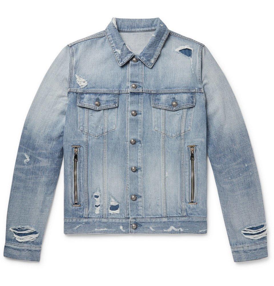 6de6cda1 Photo: Balmain - Logo-Embroidered Distressed Denim Jacket - Light blue