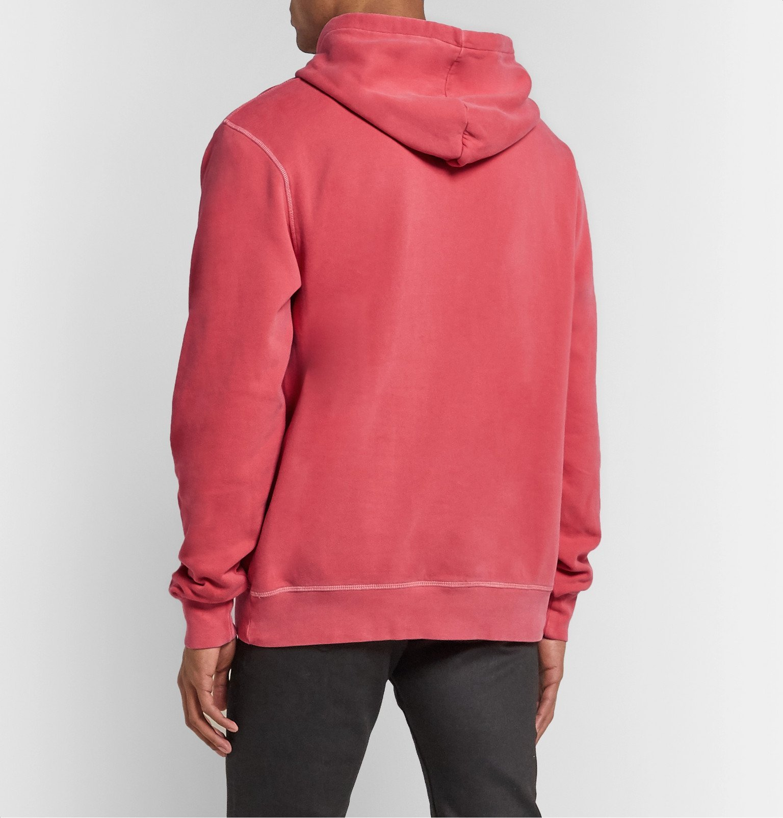 Officine Generale - Olivier Garment-Dyed Loopback Cotton-Jersey Hoodie - Red