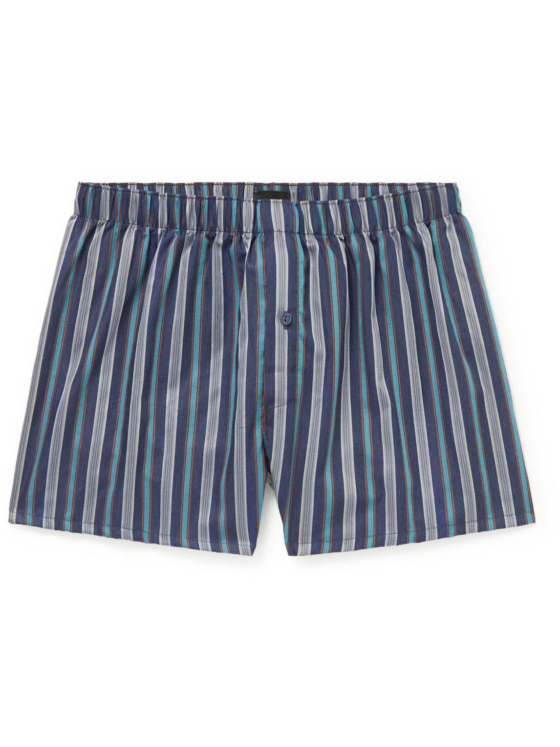 Photo: Hanro - Fancy Striped Cotton Boxer Shorts - Blue