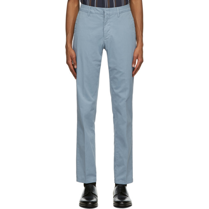 Dunhill Blue Cotton Twill Chino Trousers