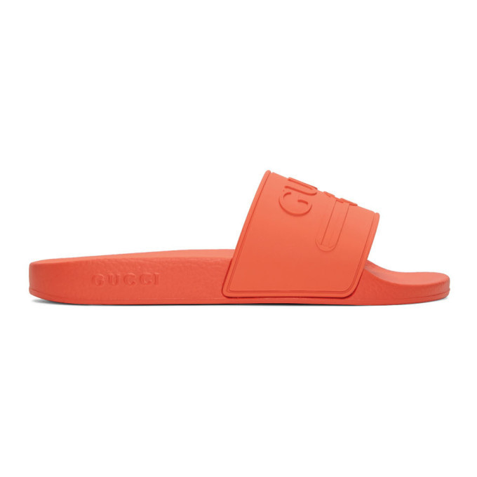 Photo: Gucci Orange Pursuit Pool Slides
