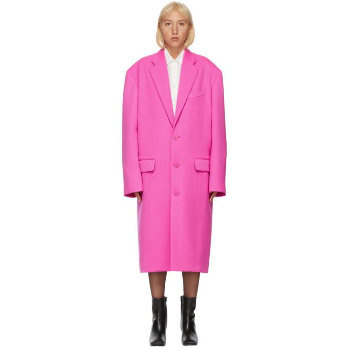 Photo: Balenciaga Pink Wool Boxy Coat