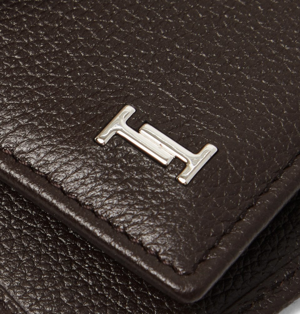 Tod's - Logo-Appliquéd Full-Grain Leather Billfold Wallet - Dark brown