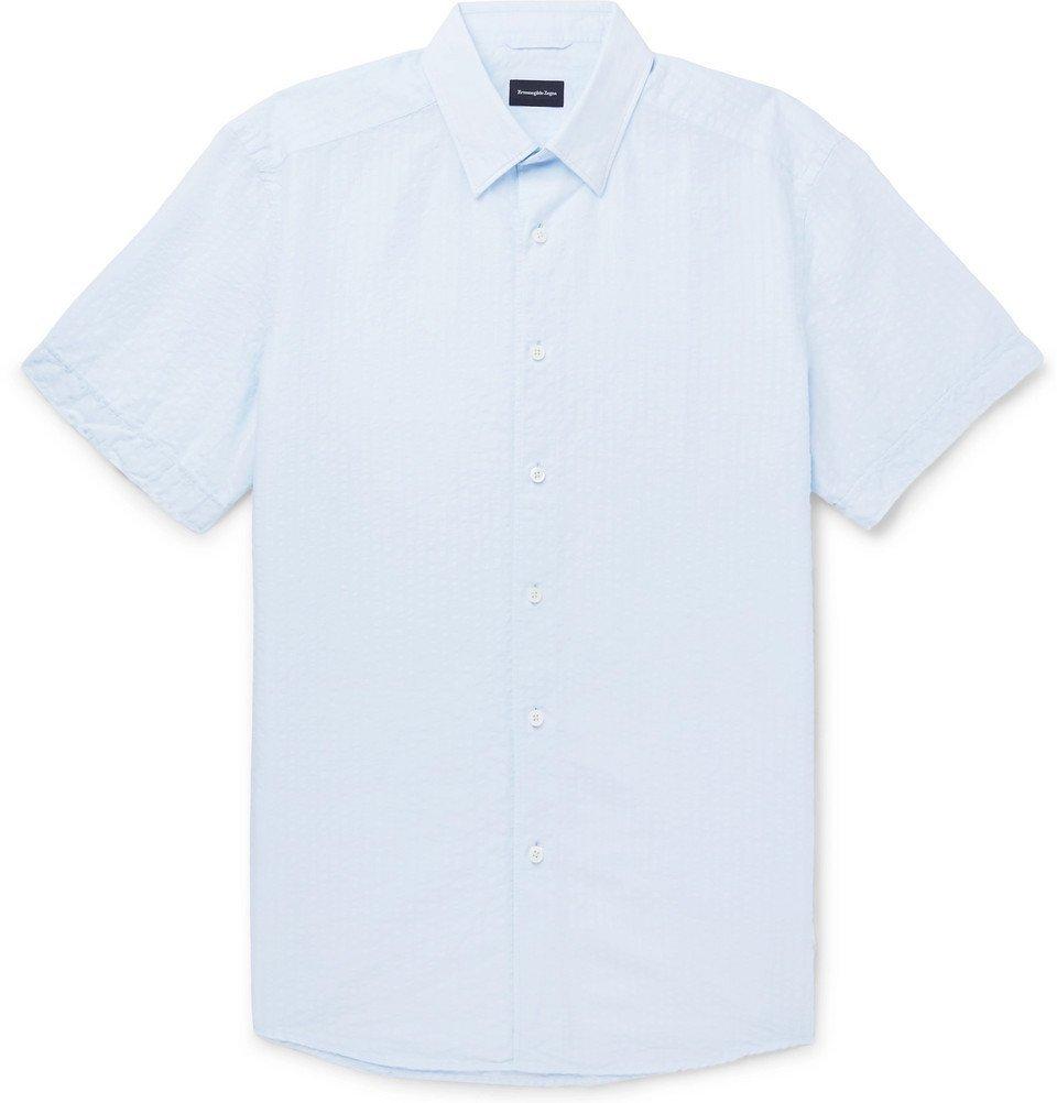 Photo: Ermenegildo Zegna - Cotton and Linen-Blend Seersucker Shirt - Blue