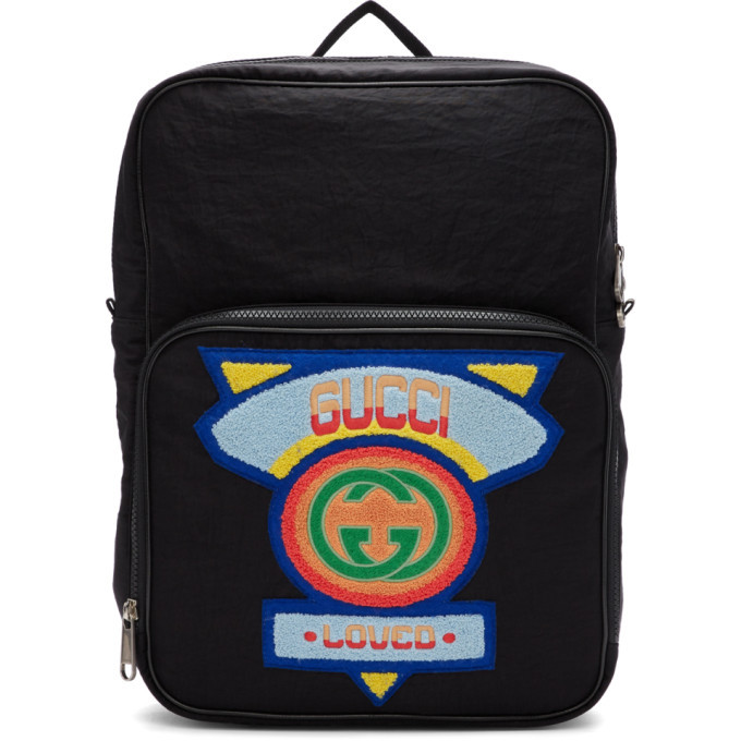 Photo: Gucci Black Medium 80s Patch Backpack
