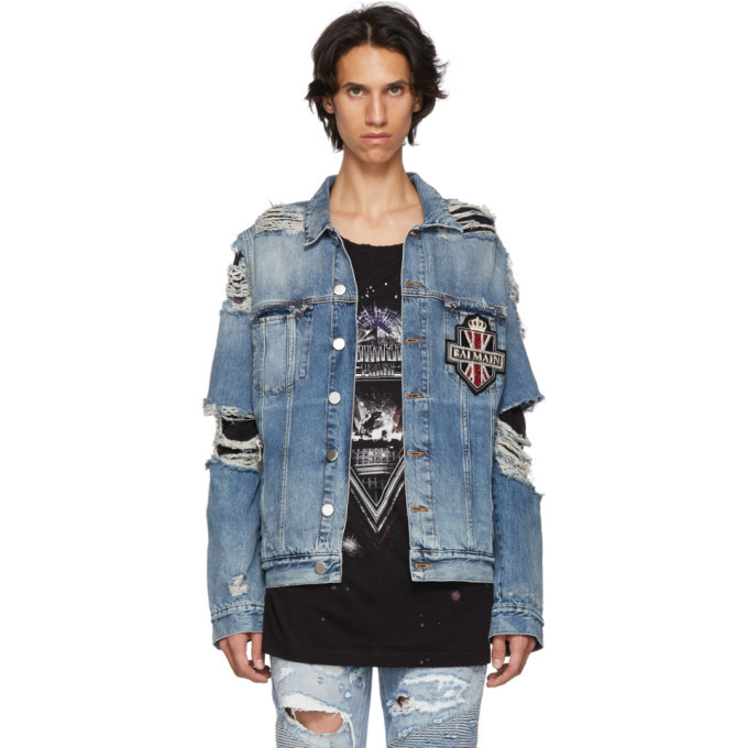 Photo: Balmain Blue Badge Denim Jacket