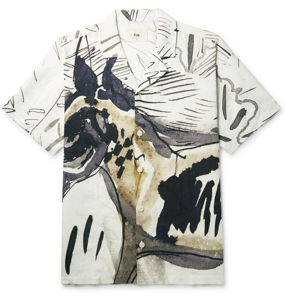 Photo: Folk - Goss Brothers Orpheus Camp-Collar Printed Linen and Cotton-Blend Shirt - Neutral