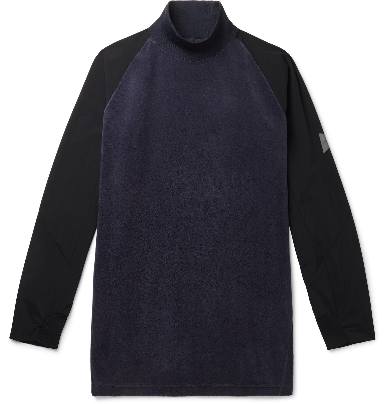 Photo: And Wander - Fleece and Shell Rollneck Base Layer - Blue