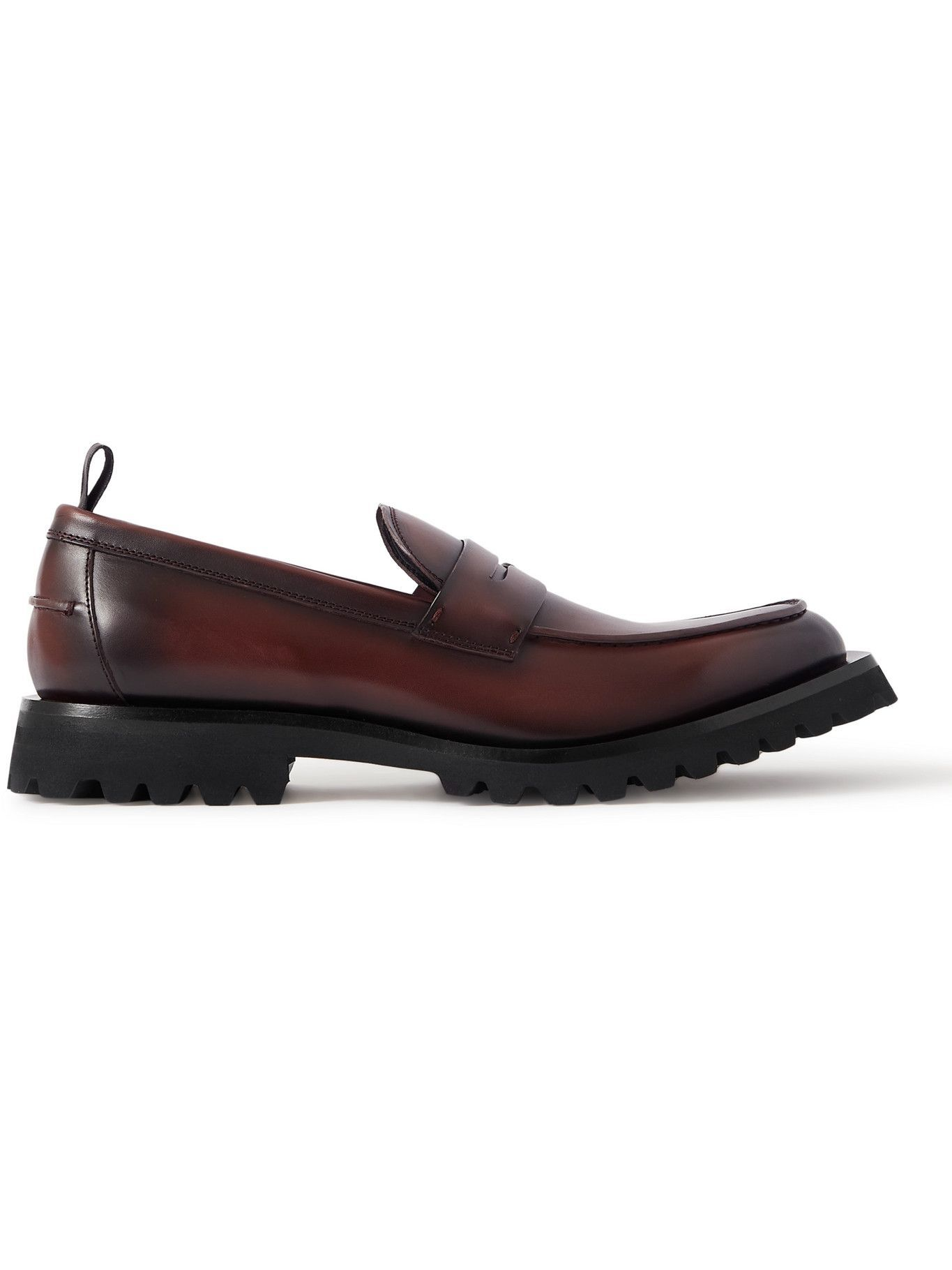 Photo: OFFICINE CREATIVE - Abstract Burnished-Leather Penny Loafers - Brown