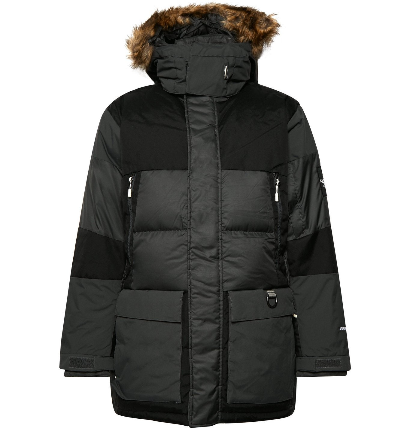 Photo: The North Face - V-Stok Faux Fur-Trimmed Quilted Canvas-Panelled Shell Hooded Down Parka - Gray
