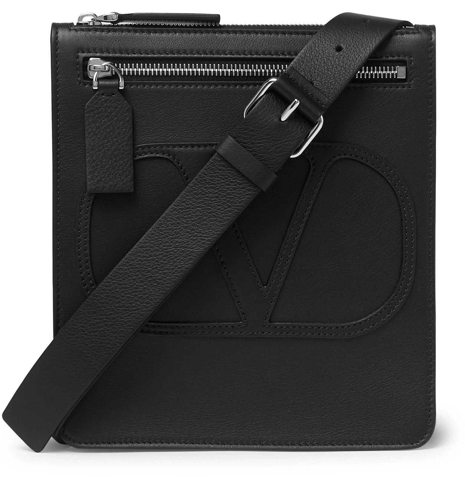 Photo: Valentino - Valentino Garavani Logo-Detailed Leather Messenger Bag - Black