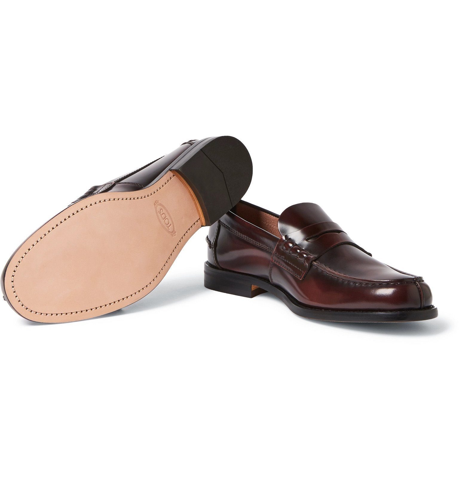 Tod's - Leather Penny Loafers - Burgundy