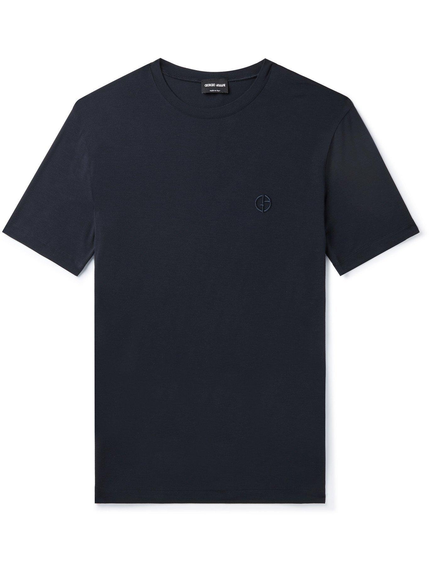 GIORGIO ARMANI - Slim-Fit Stretch-Jersey T-Shirt - Blue - IT 46