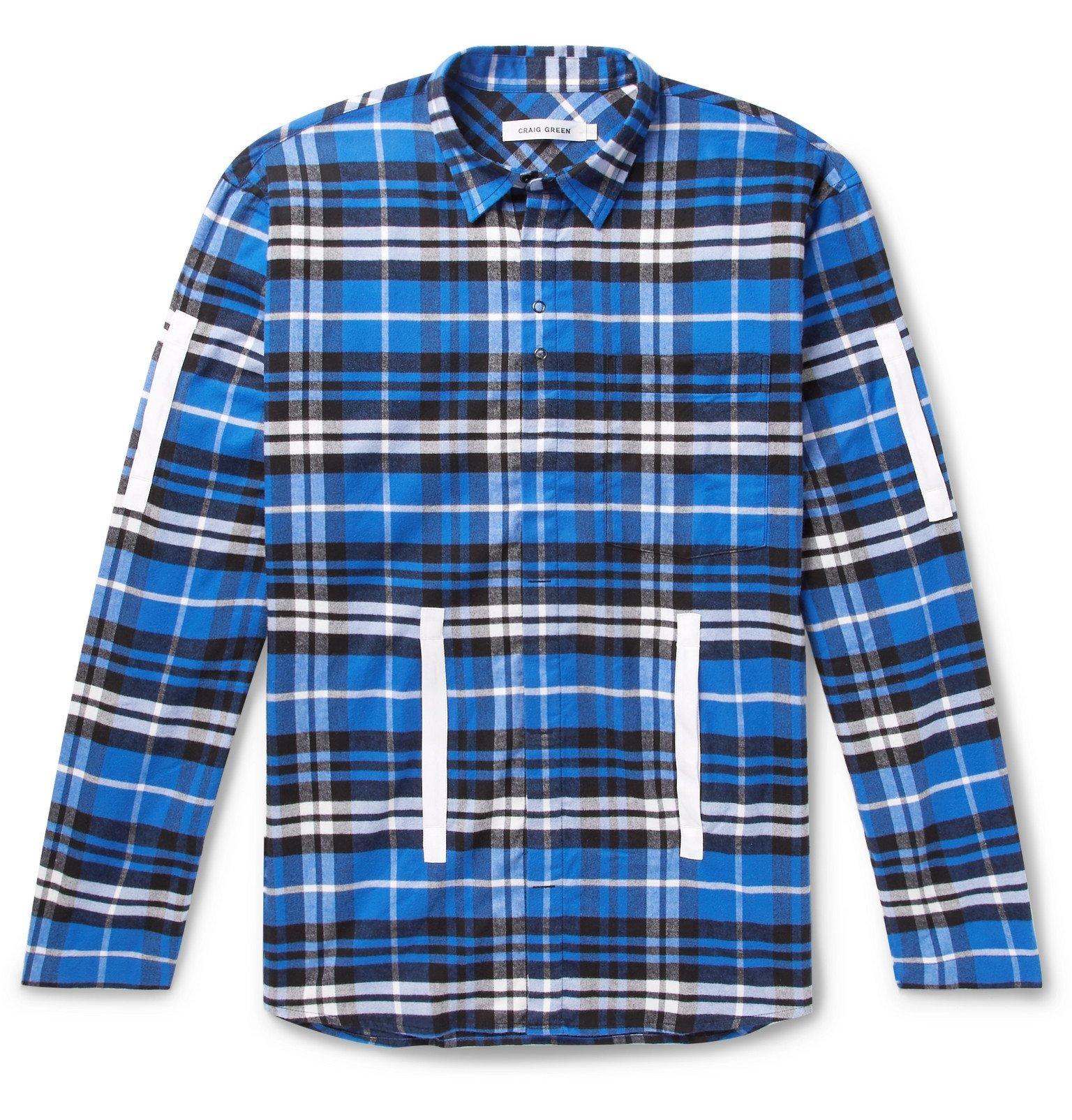 Photo: Craig Green - Grosgrain-Trimmed Checked Cotton-Flannel Shirt - Blue