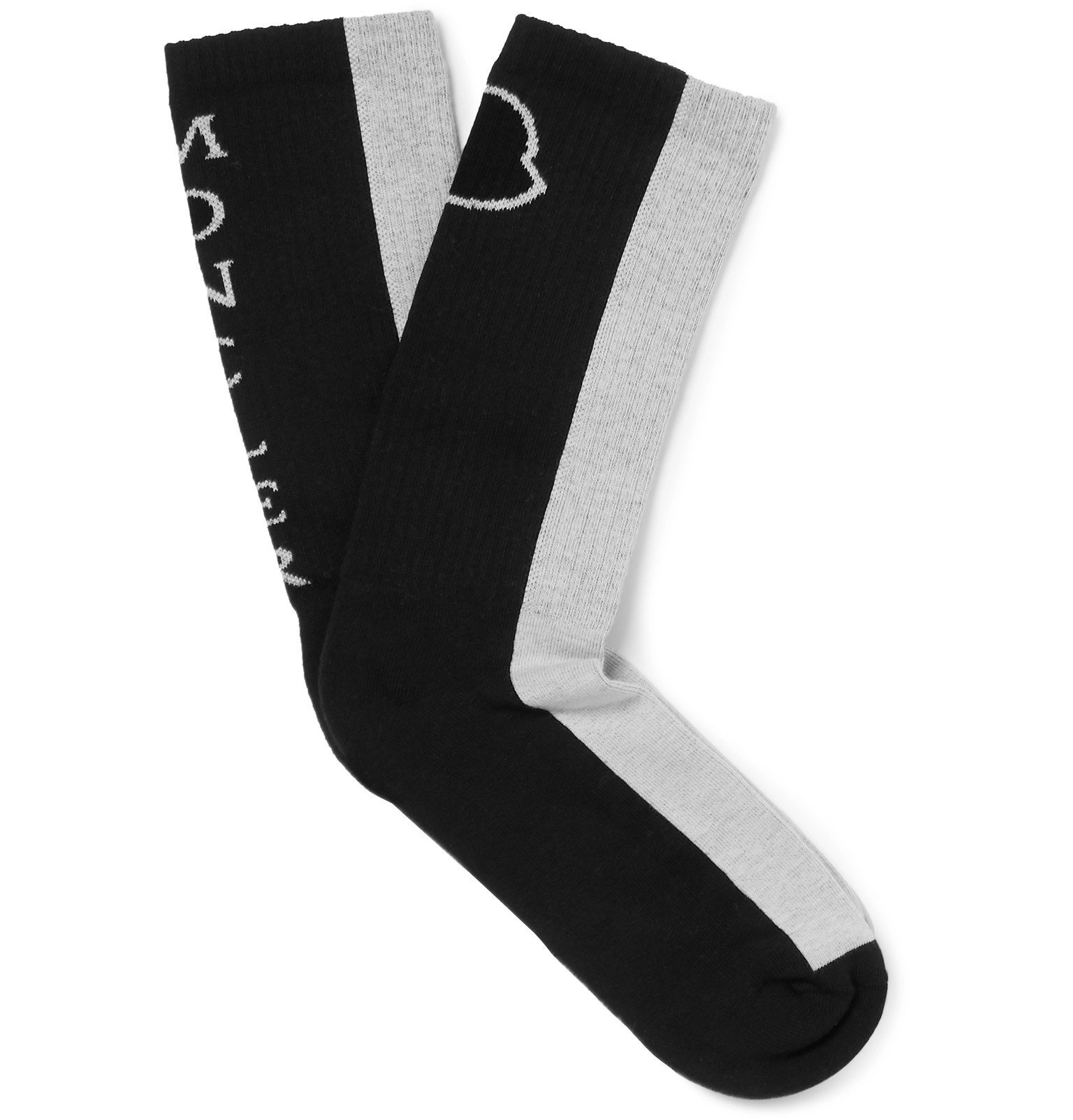 Photo: Moncler - Colour-Block Ribbed Stretch Cotton-Blend Socks - Gray