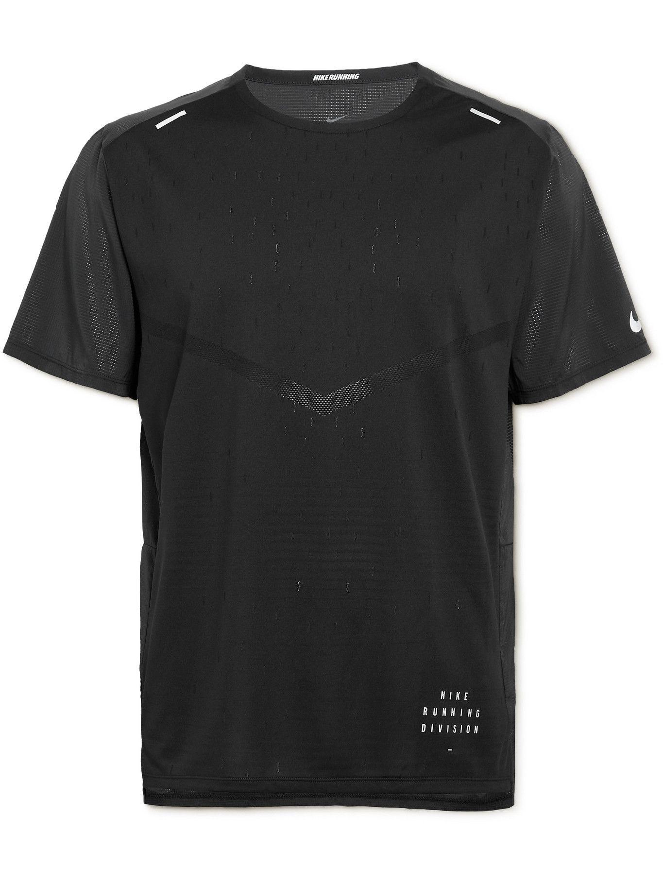 NIKE RUNNING - Rise 365 Run Division Mesh-Panelled Dri-FIT T-Shirt - Black