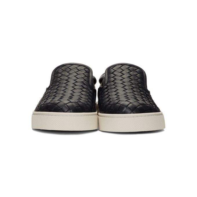 Bottega Veneta Navy Intrecciato Dodger Slip-On Sneakers