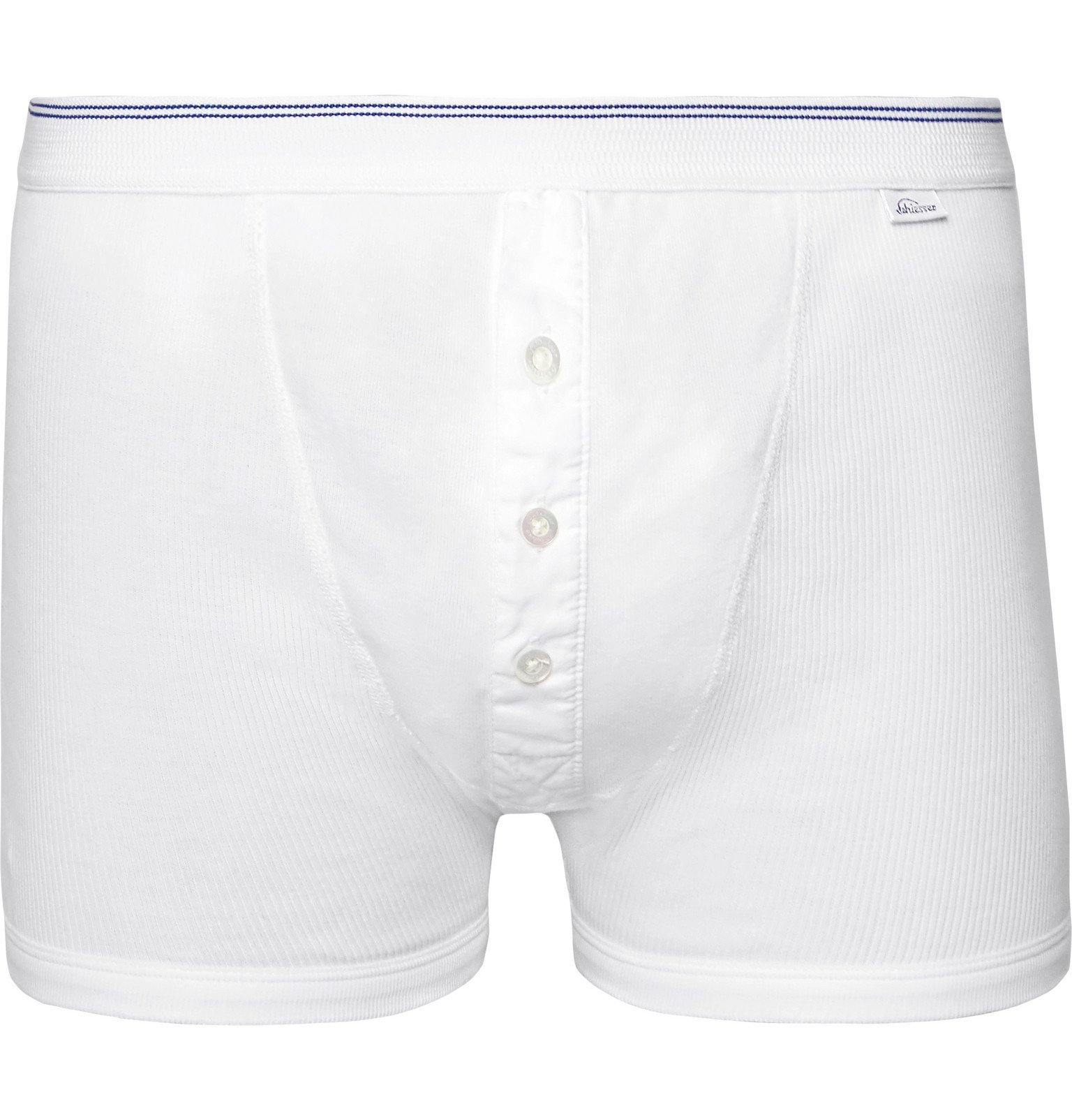 Photo: Schiesser - Friedrich Ribbed Cotton Boxer Briefs - White