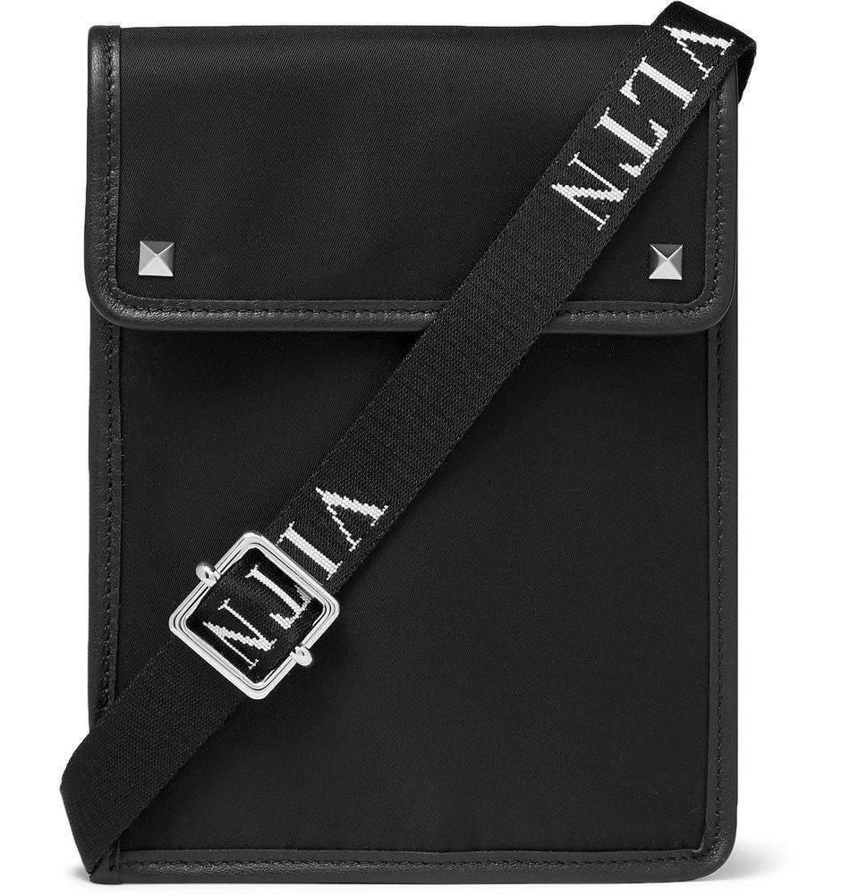 Photo: Valentino - Valentino Garavani Leather-Trimmed Nylon Messenger Bag - Black