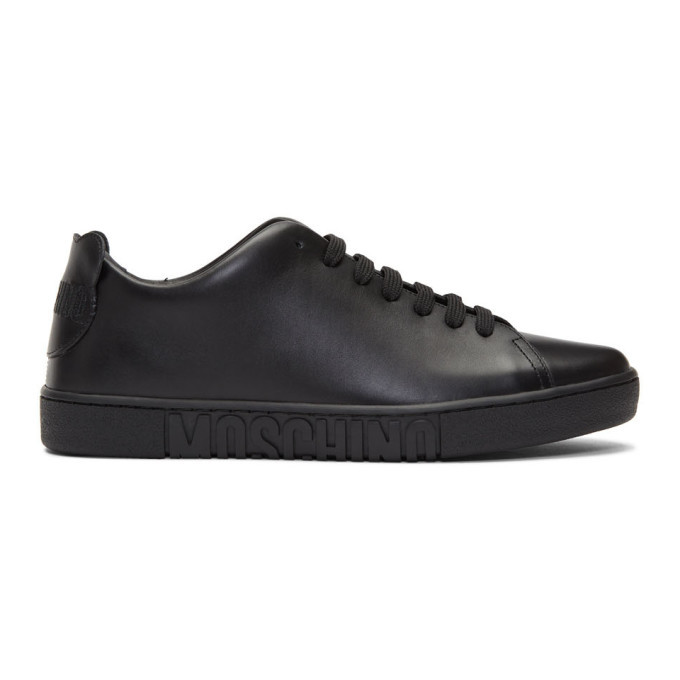 Photo: Moschino Black Leather Teddy Patches Sneakers