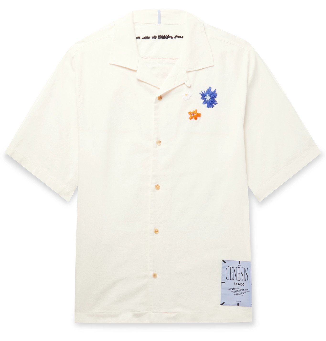 Photo: MCQ - Camp Collar Embroidered Appliquéd Cotton Shirt - White