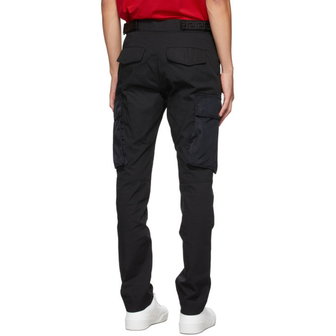 Versace Black Cotton Cargo Pants