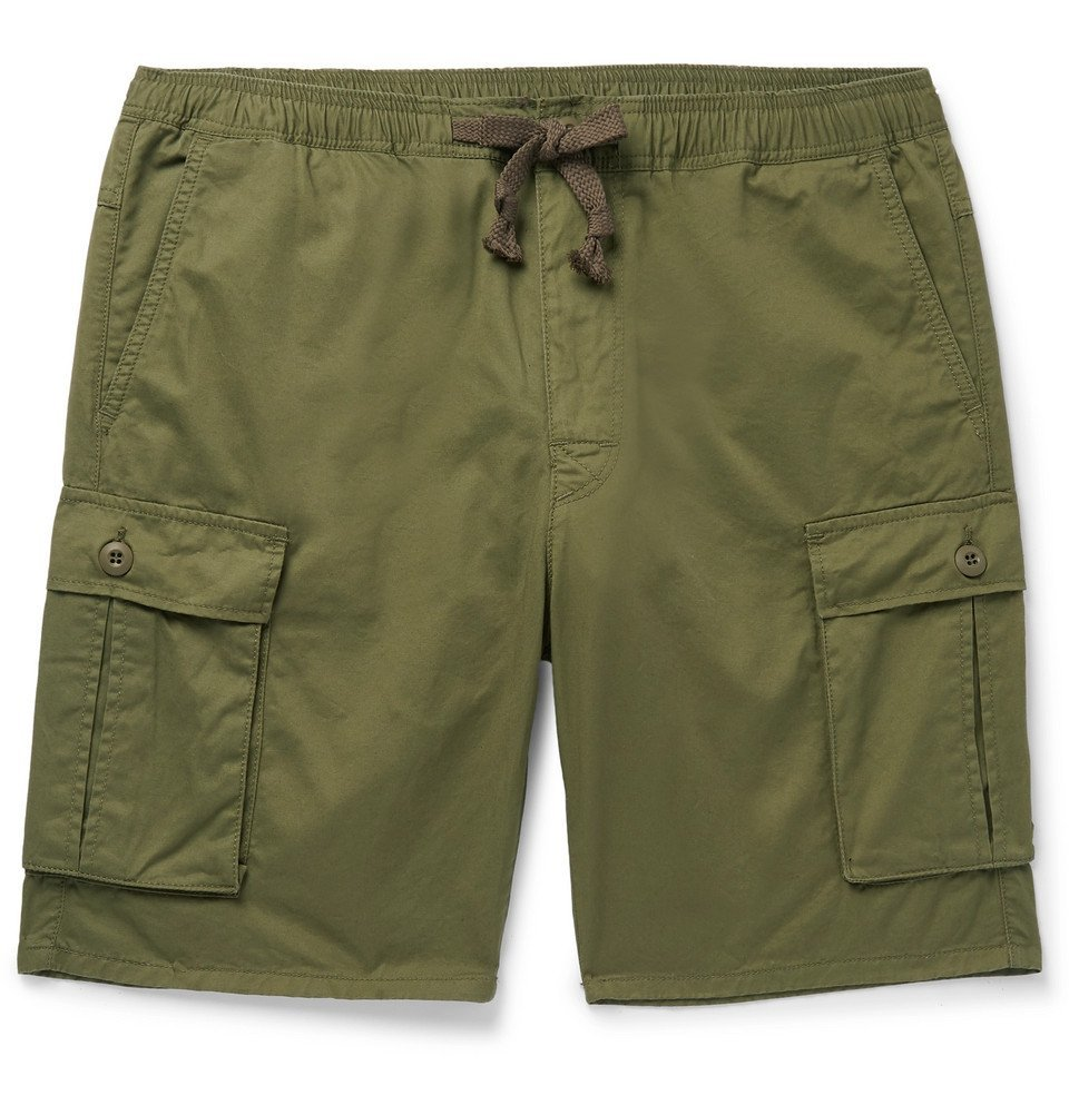 Photo: Remi Relief - Slim-Fit Cotton and Linen-Blend Cargo Shorts - Green