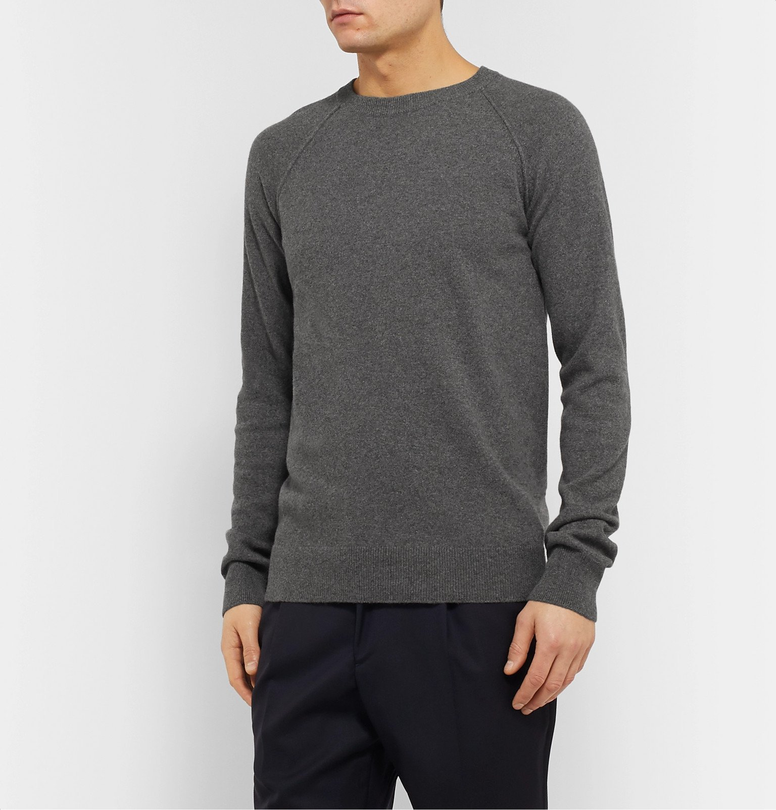 Officine Generale - Mélange Cashmere and Wool-Blend Sweater - Gray