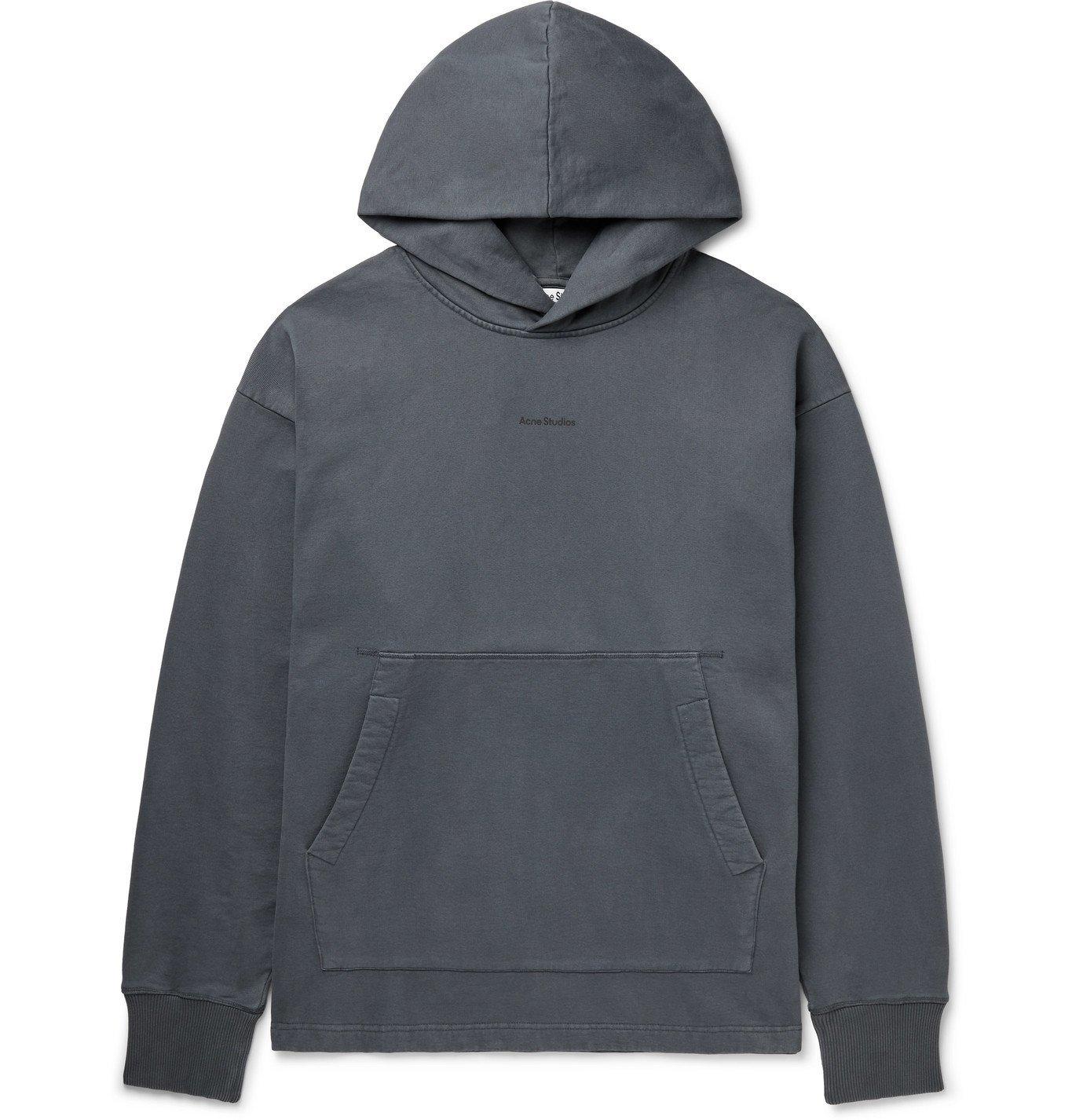 Photo: ACNE STUDIOS - Franklin Oversized Logo-Print Fleece-Back Cotton-Jersey Hoodie - Gray