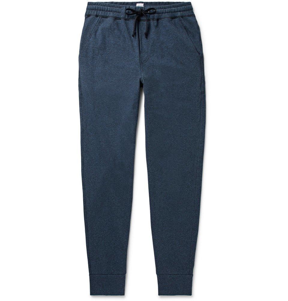 Schiesser - Hugo Slim-Fit Tapered Mélange Cotton-Jersey Sweatpants - Blue