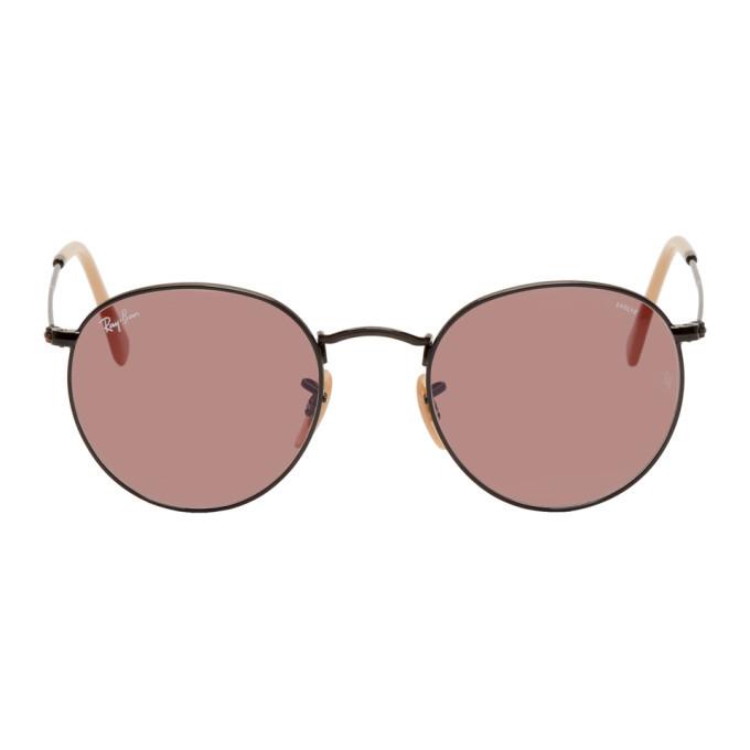 Photo: Ray-Ban Black and Pink Round Phantos Sunglasses