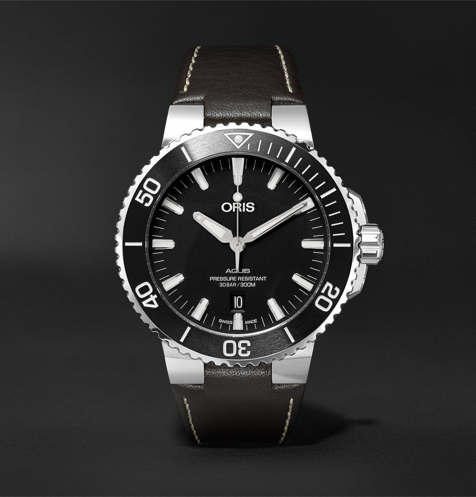 Photo: Oris - Aquis 43mm Stainless Steel and Leather Watch - Men - Black