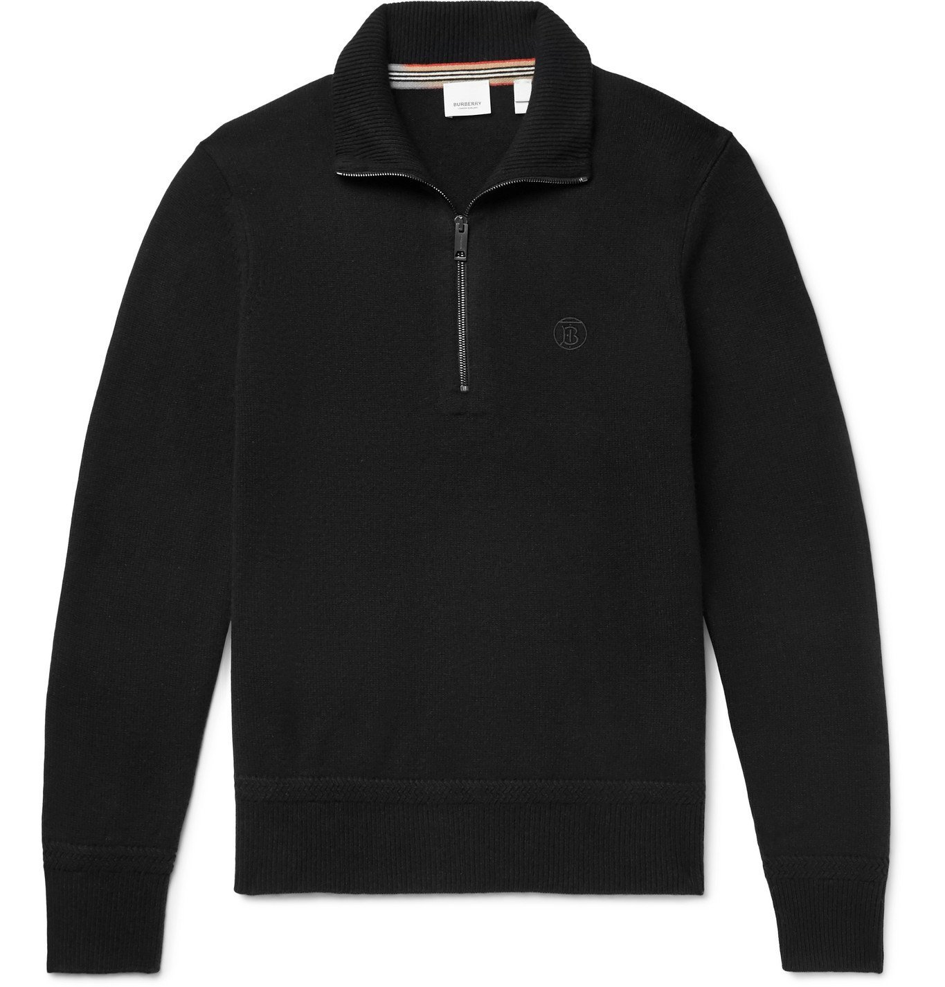 Photo: BURBERRY - Logo-Embroidered Cashmere Half-Zip Sweater - Black