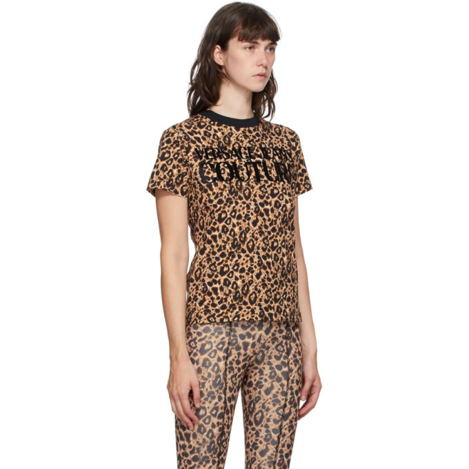 Versace Jeans Couture Beige and Black Leopard Logo T-Shirt