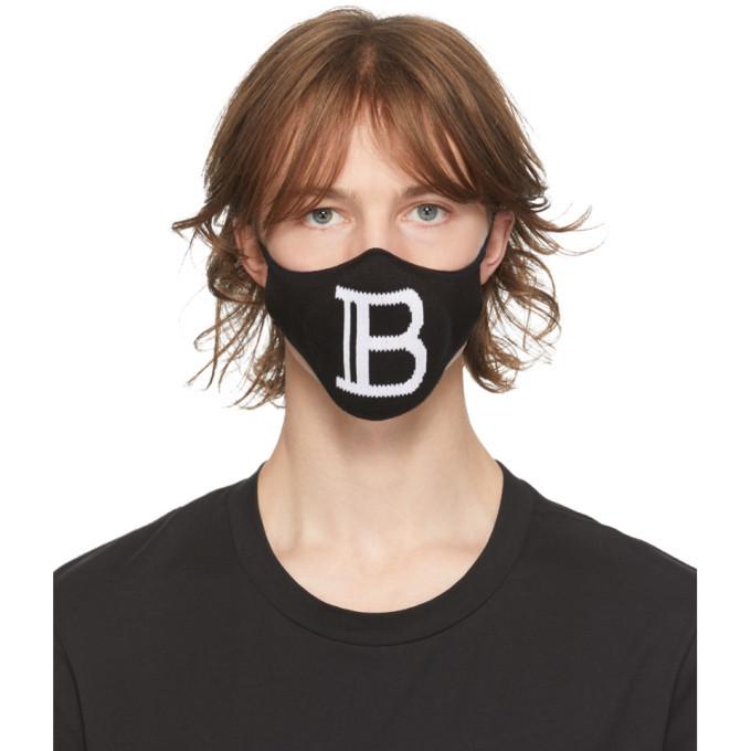 Photo: Balmain Black Knit Logo Mask