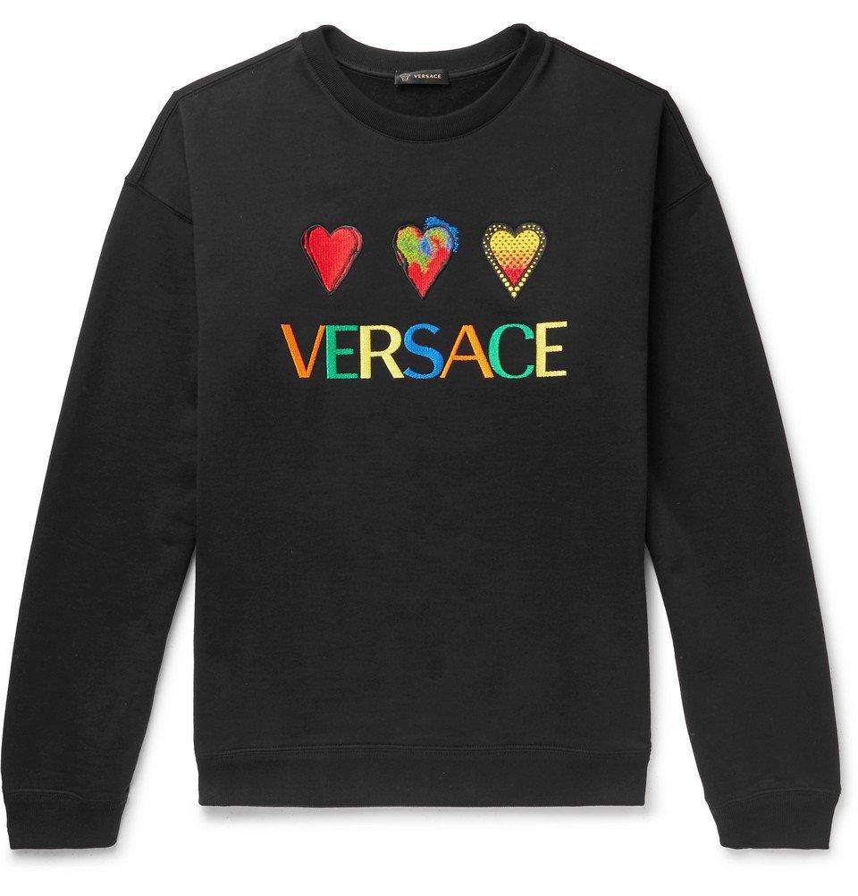 Photo: Versace - Logo-Embroidered Fleece-Back Cotton-Jersey Sweatshirt - Black