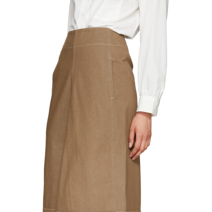 Lemaire Tan Denim Flared Skirt